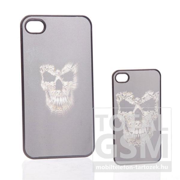 Apple iPhone 4 3d halálfejes fekete fehér hátlap tok
