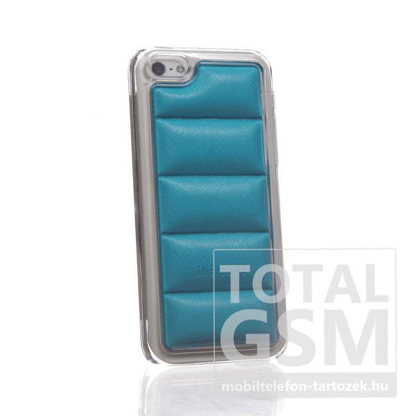 Apple iPhone 5C átlátszó bőrhatású világoskék hátlap tok