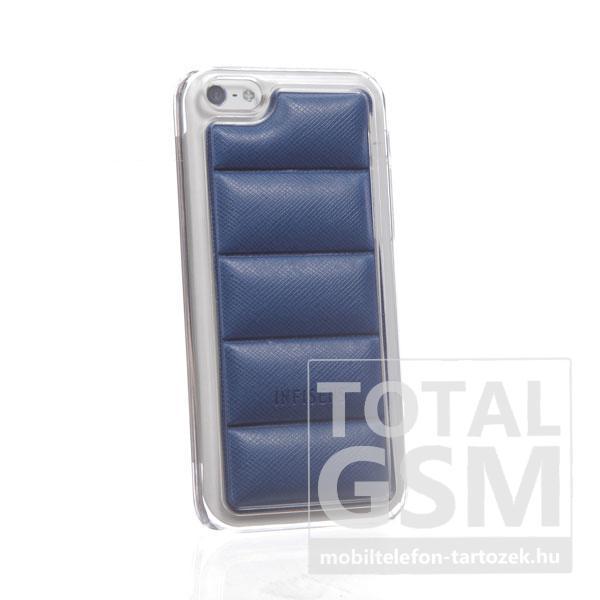 Apple iPhone 5C átlátszó bőrhatású kék hátlap tok
