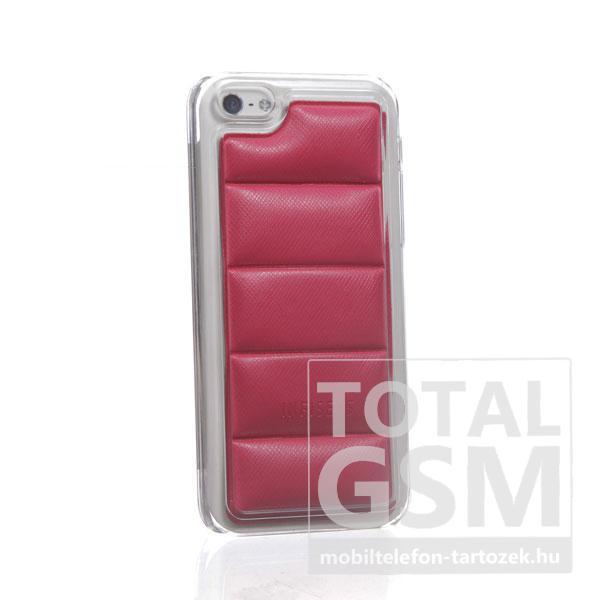 Apple iPhone 5C átlátszó bőrhatású piros hátlap tok