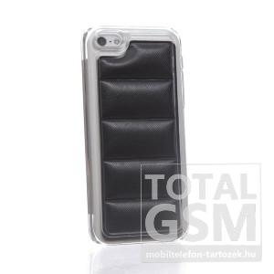 Apple iPhone 5C átlátszó bőrhatású fekete hátlap tok