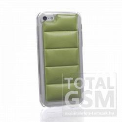 Apple iPhone 5C átlátszó bőrhatású zöld hátlap tok