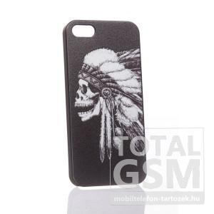 Apple iPhone 5 indián koponya mintás fekete fehér hátlap tok