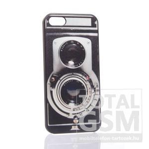 Apple iPhone 5 fényképezőgép mintás fekete hátlap tok
