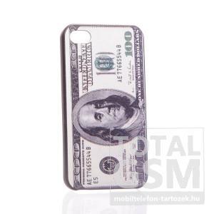 Apple iPhone 4 dollár mintás fekete hátlap tok