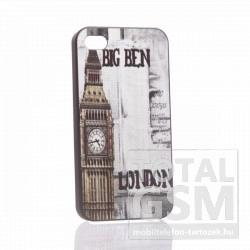 Apple iPhone 4 london big ben mintás fekete fehér hátlap tok
