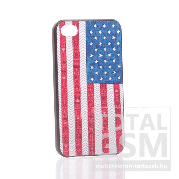 Apple iPhone 4 amerikai zászló mintás fekete hátlap tok