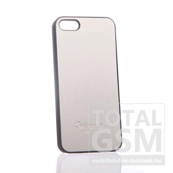 Apple iPhone 5 bőrhatású fekete fehér hátlap tok