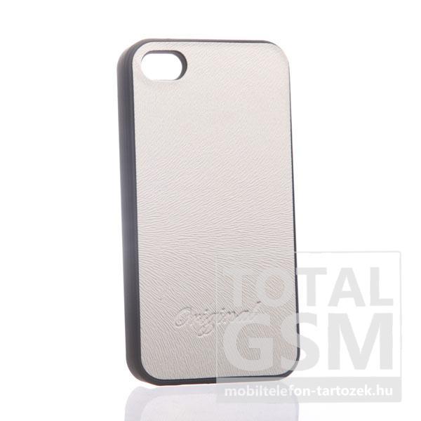 Apple iPhone 4 bőrhatású fekete fehér hátlap tok