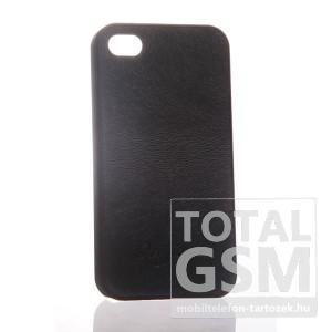 Apple iPhone 4 bőrhatású fekete hátlap tok