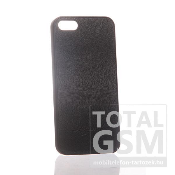 Apple iPhone 5 bőrhatású fekete hátlap tok