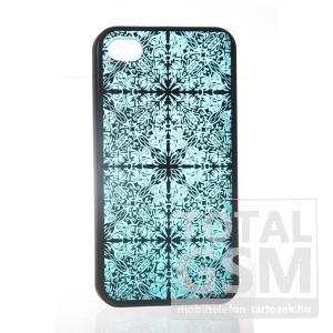 Apple iPhone 4 mintás fekete kék hátlap tok