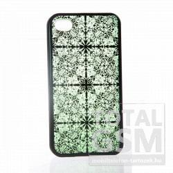 Apple iPhone 4 mintás fekete zöld hátlap tok
