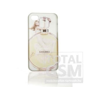 Apple iPhone 4 parfüm mintás illatos fehér sárga hátlap tok