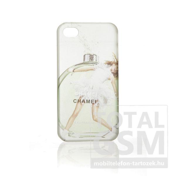 Apple iPhone 4 parfüm mintás illatos fehér zöld hátlap tok
