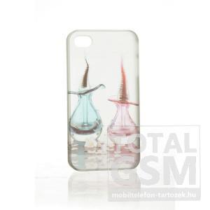 Apple iPhone 4 parfüm mintás illatos fehér rózsaszín kék hátlap tok