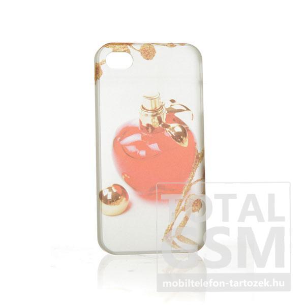 Apple iPhone 4 parfüm mintás illatos fehér piros hátlap tok