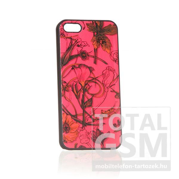 Apple iPhone 5 virág mintás fekete piros hátlap tok