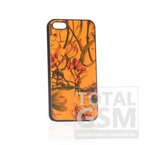 Apple iPhone 5 virág mintás fekete narancssárga hátlap tok