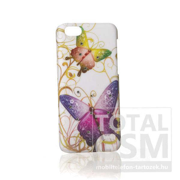 Apple iPhone 5C köves pillangó mintás fehér lila hátlap tok