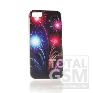 Apple iPhone 5 tüzijáték mintás fekete kék rózsaszín hátlap tok