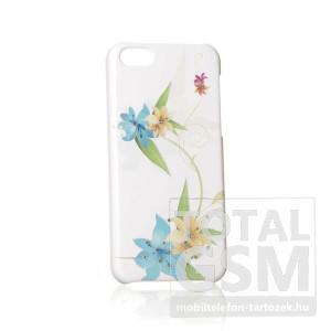 Apple iPhone 5C köves virágmintás fehér kék zöld hátlap tok