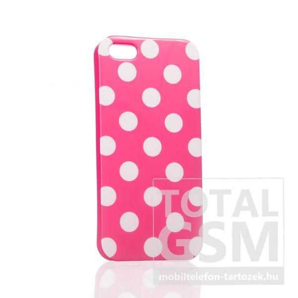 Apple iPhone 5 pöttyös rózsaszín fehér hátlap tok