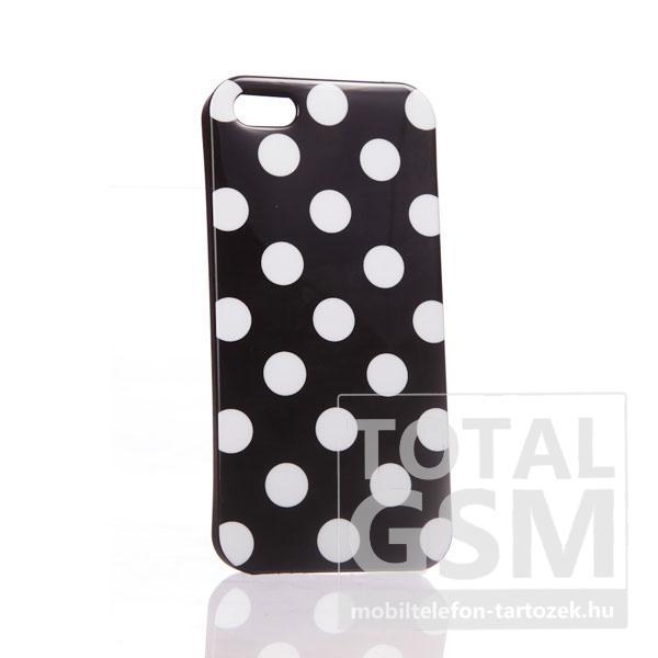 Apple iPhone 5 pöttyös fehér fekete hátlap tok