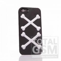 Apple iPhone 5 csont mintás fekete fehér hátlap tok