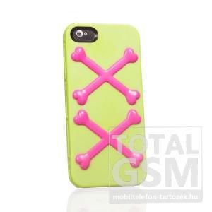 Apple iPhone 5 csont mintás zöld rózsaszín hátlap tok