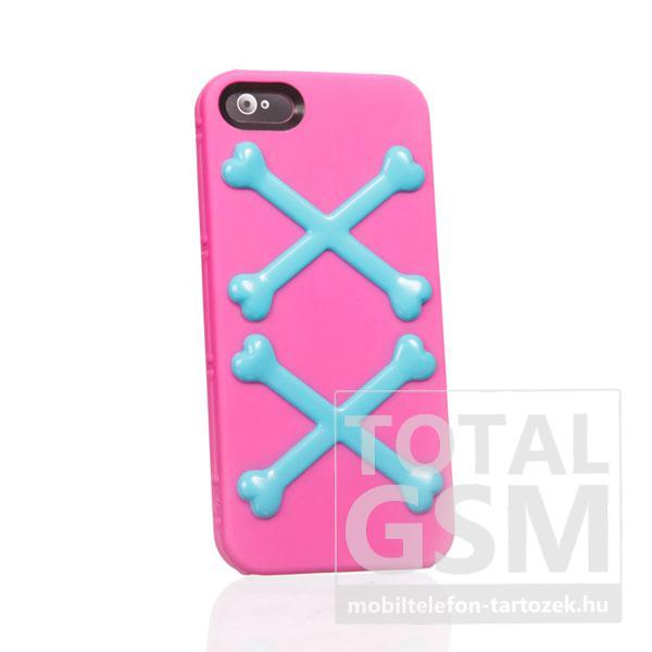 Apple iPhone 5 csont mintás rózsaszín kék hátlap tok
