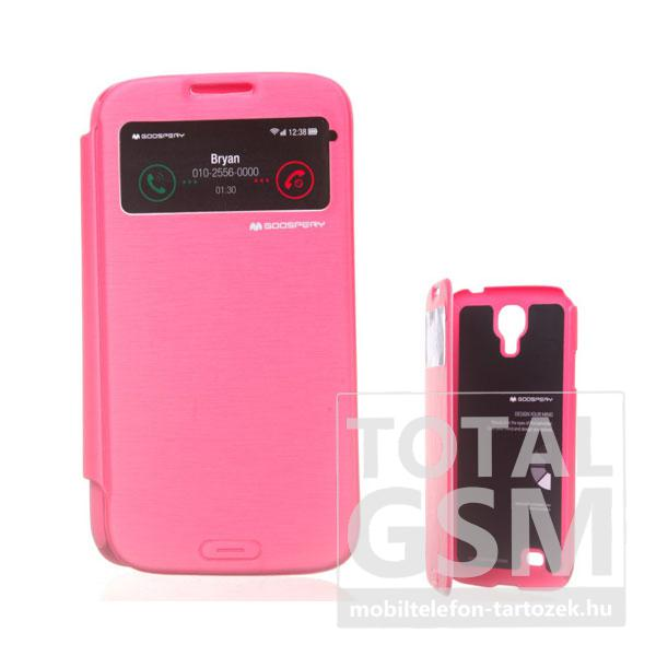 Samsung GT-I9500 Galaxy S4 rózsaszín flip tok