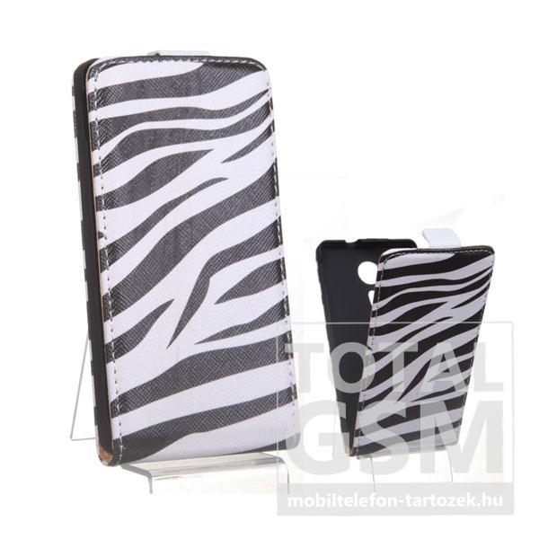 Sony Xperia SP C5303 zebra mintás flip tok