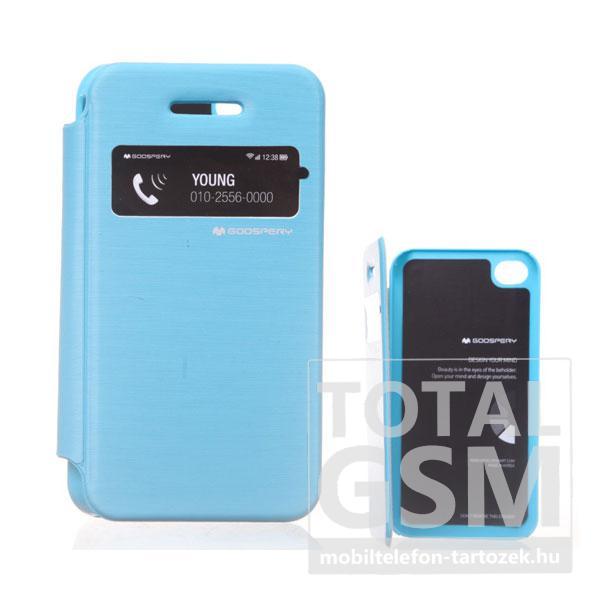 Apple iPhone 4/4S kék flip tok