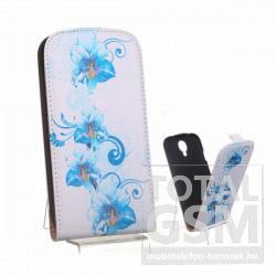Samsung GT-I9500 Galaxy S4 fehér kék virág mintás flip tok
