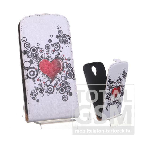 Samsung GT-I9500 Galaxy S4 fehér szív mintás flip tok