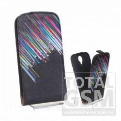 Samsung GT-I9500 Galaxy S4 fekete színes hullócsillag mintás flip tok