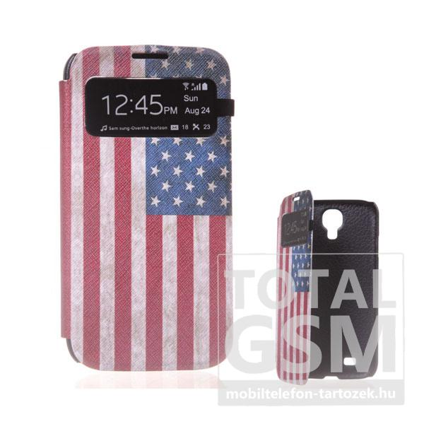Samsung GT-I9500 Galaxy S4 USA zászló mintás ablakos flip tok