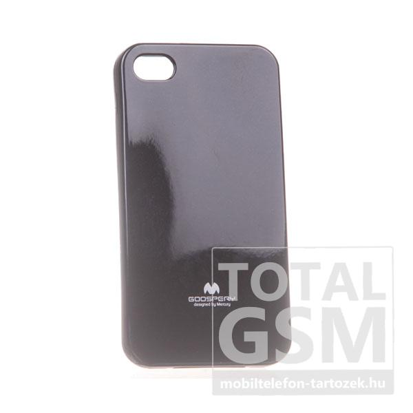 Apple iPhone 4/4S Jelly Case fekete szilikon tok