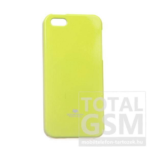 Apple iPhone 5/5S Jelly Case neonzöld szilikon tok