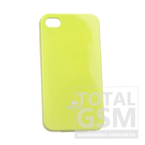 Apple iPhone 4/4S Jelly Case neonzöld szilikon tok