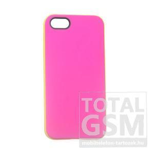 Apple iPhone 5/5S rózsaszín-citromsárga szilikon tok