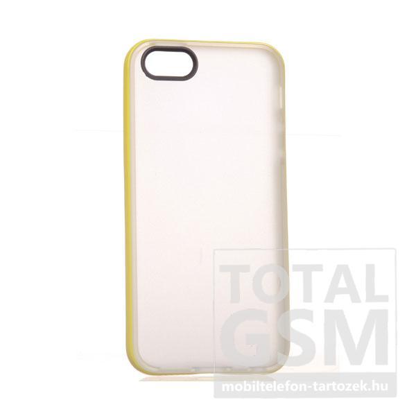 Apple iPhone 5/5S törtfehér-citromsárga szilikon tok