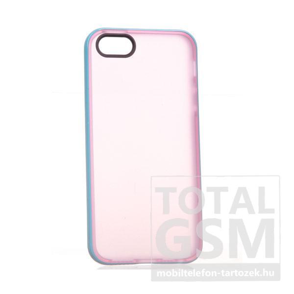 Apple iPhone 5/5S rózsaszín-kék szilikon tok