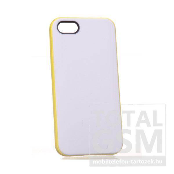 Apple iPhone 5/5S fehér-citromsárga szilikon tok