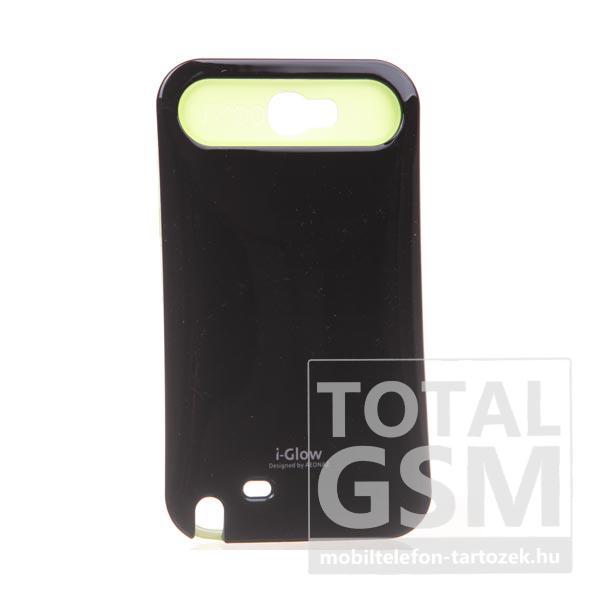 Samsung N7100 Galaxy Note 2 fekete-citromsárga kemény szilikon tok