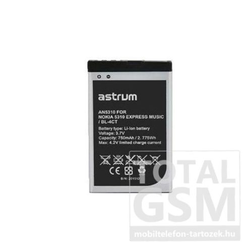 Astrum AN5310 Nokia 5310 / X3-00 BL-4CT kompatibilis akkumulátor 750mAh