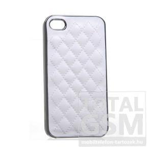 Apple iPhone 4/4S ezüst-fehér kemény tok