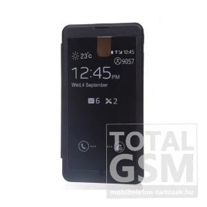 Samsung N9000 Galaxy Note 3 fekete oldalra nyíló ablakos flip cover tok