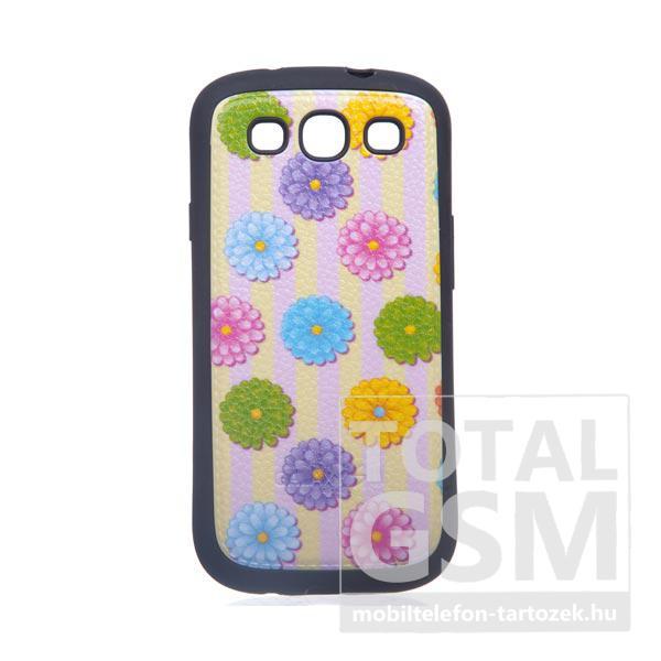 Samsung GT-I9300 Galaxy S3 fekete-rózsaszín-sárga virág bőrhatású szilikon tok